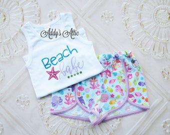 Mermaid Outfit, Girls Mermaid Outfit, Beach Babe, Under the Sea, Toddler Girls Mermaid Outfit