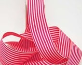 Striped Grosgrain Ribbon -- 1.5 inches -- Raspberry Cream