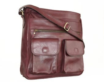 Red-Wine Leather Bag, Cross-body Purse, Handbag, Iris