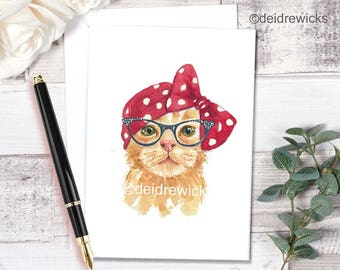 Cat Greeting Card - BLANK Card, Cat Watercolor, Cat Lover Gift, Birthday Card, Thank You Card