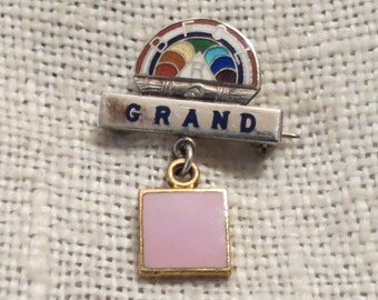 Rainbow Girls GRAND Pink Dangle Enamel & Sterling Silver Lapel Pin