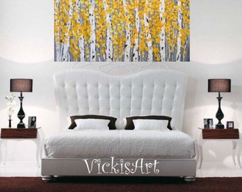 Birch Aspen Grey Yellow  Trees Wall Art 48 w x 30 h x 1.75  Large Painting Wall Art ships free in  US