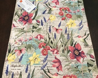 Summer Floral Table Runner |  Bird Runner | Butterfly Runner | Summer Table Runner | Pink Table Runner | Spring Table Runner