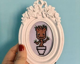 Dancing Baby Groot Guardians of the Galaxy Inspired Cross Stitch in frame