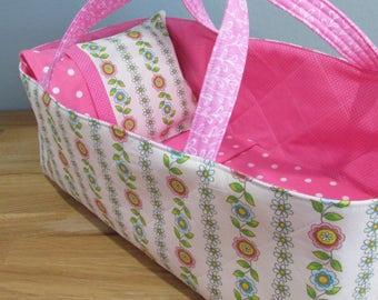 Doll Carrier, Fower Vine with Pink Lining, Will Fit Bitty Baby and Stella Dolls, 16 Inches Long, Doll Basket