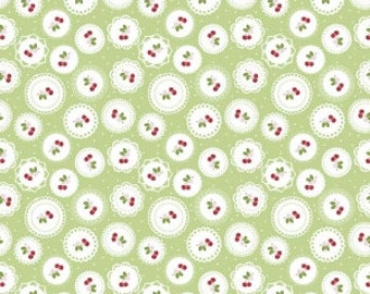 Cherry doily in green fabric from the Sew Cherry 2 collection by Lori Holt of Bee In My Bonnet for Riley Blake  C5802-green
