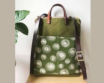 2way tote bag backpack bag with leather strap/unsiex bag /travel bag /Backpack /Laptop bag /leahter strap /
