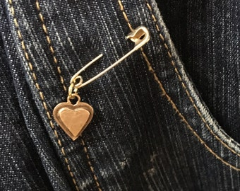 HEARTS FOR CHARITY: Small Gold Layered Heart Sweater pin/Brooch and Pendant, 50% of cost go to charity (safetypin project)
