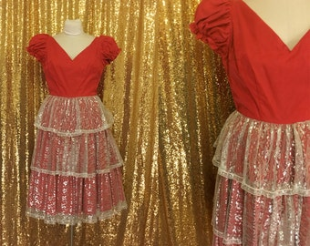 Vintage Red Country Western Dress // Square Dance Party Dress // 1950s Metallic Lace Dress // Christmas Party Dress // Winter Fashion