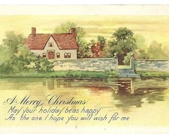 "Vintage 1920 ""A Merry Christmas"" Postcard"
