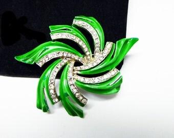 Green Enamel Pin Wheel Brooch Signed Kramer - Clear Rhinestones on Slvertone Setting - 1950's 1960's Mid Century Modern Jewelry