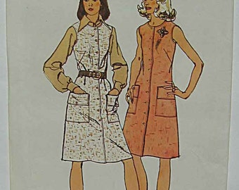 Vintage 70's Misses' Dress or Jumper with Front Button Closing Simplicity 5585 Sewing Pattern UNCUT Size 16