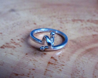 Wool ring sterling silver / 925 / knit / knitter / tool / jewel