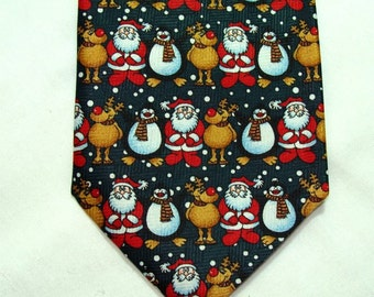 Never Worn SANTA Trio Christmas TIE Snowman and Reindeer