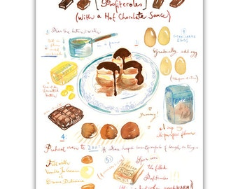 Profiteroles recipe print, Kitchen wall art, Food print, Bakery decor, Home decor, Watercolor cake painting, Gourmet print, Chocolate cake