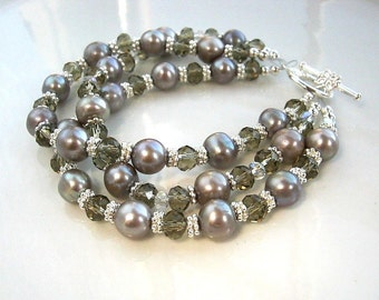 Three Strand Crystal and Gray Silver Freshwater Pearl Bracelet Silver Gray Pearl Bracelet