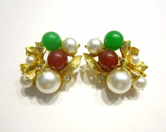 Vintage Pearl Clip Earrings Gold Flower Green Bead Faux Gem Gift for Her Gift for Mom Gift Idea under 20 Jewelry
