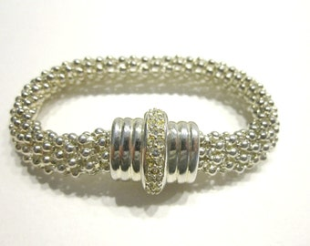 "Vintage Magnetic Bracelet Mesh Chainmaille Rhinestone Bracelet Fits 6 1/2"" Silver Jewelry Gift Idea Under 20"