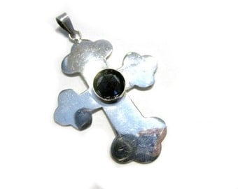 Vintage Sterling Cross Pendant Faceted Black Glass Stone Sterling Silver Religious Jewelry Gift for Her gift for Mom Under 25