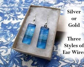 Hasui earrings, Moon Over the Ara River, 1929, light blue earrings, art earrings, small glass earrings, woodblock art, Japanese landscape