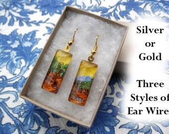 Van Gogh Olive Tree earrings, Van Gogh earrings, small glass earrings, impressionist earrings, Olive Trees