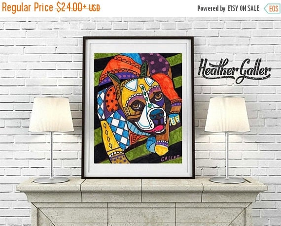 50% Off Today- Dog Prints - Boxer art dog  Art Print Poster by Heather Galler of Painting Modern (HG391)