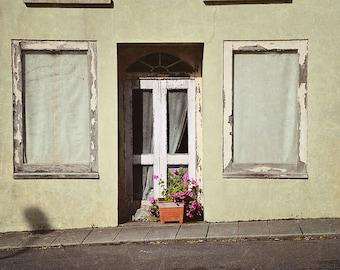 St Patricks Day, March, Old Building, Front Door, Palladium Window, Geranium, Windows, Family, Ireland, Irish, Allihies, Margaret Dukeman