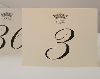 Wedding Table Number Majestic Crown with Bride and Groom's Monogram Sold in Sets