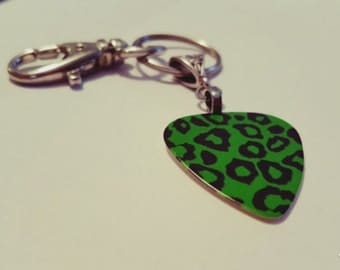 Guitar Pick KeyChain - Guitar Pick Jewelry - Green Key Chain - Leopard Key chain - Animal Print Jewelry - Pick Key Chain - Leopard Print