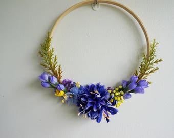 Beautiful and Modern Silk Boho Floral Door Wreath is Unique, year round wreath,  Summer Wreath, Spring Wreath, Blue and Yellow Wreath