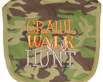 Baby Bib, Camo Baby Bib, Hunting Bib, Infant Hunting Bib, Crawl Walk Hunt Bib, Embroidered Baby Bib