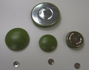 Green Leather Covered Buttons