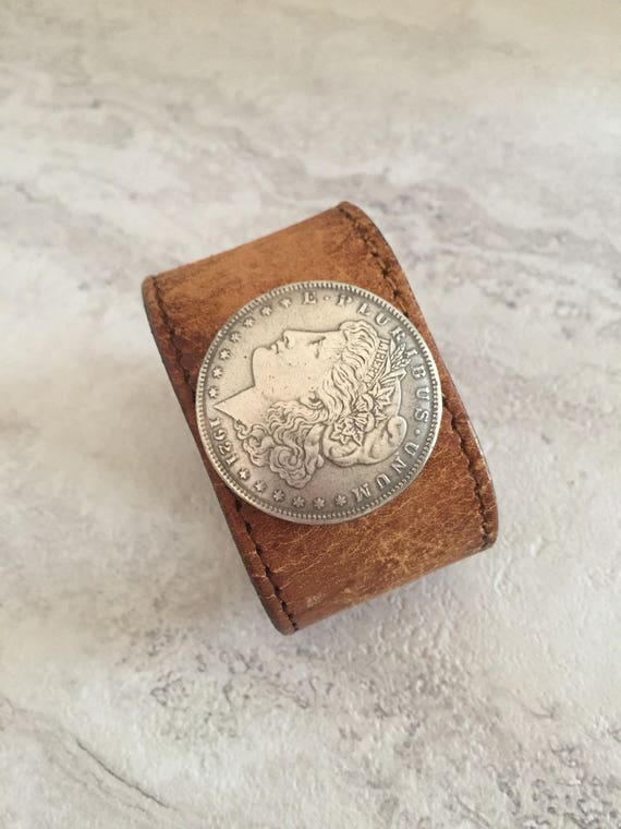 Women's Brown Leather Bracelet with Morgan Dollar Coin (Size 6.5 inches)