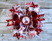 Elf Bow Christmas Bow Christmas Bottle Cap Bow Holiday Bow Snowflake Bow Hair Clip Girls Boutique Bows Baby Girls Hair Accessories
