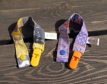 a pair of pacifier clips, baby shower gift, pacifier holder, patchwork gift, baby clip, baby pacifier clip, newborn gift, dummy clip, gift
