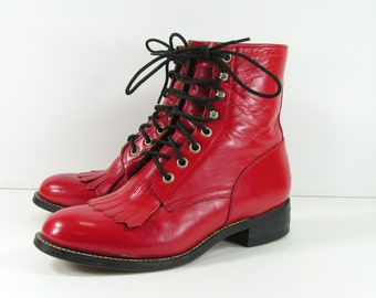 red ankle paddock cowboy boots womens 7 B M justin leather vintage western ropers