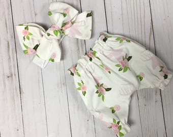 Woodland Baby Bloomers, Vintage Baby Bloomers, Big Bow Headband, Newborn Baby Gift, Baby Shower Gift, Fawn Bloomers, Buck Diaper Cover