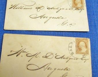 2 Envelopes Civil War Era William D'Antignac Augusta GA Davis Musketeers Co.