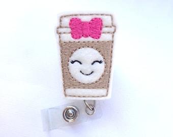 Badge Reel ID Holder badge holder Retractable - Coffee Cutie badge reel - white felt tan pink bow - nurse badge reel medical staff - barista