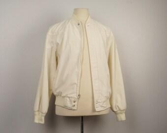 Eddie Bauer white Bomber Jacket 90s Vintage cream ivory zip up lightweight windbreaker Men Medium 44 chest