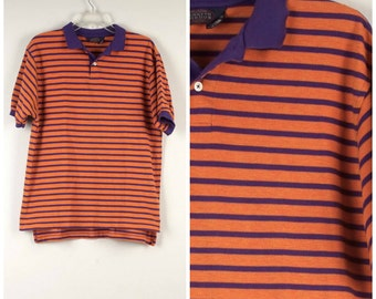 Colorful Purple and Orange Stripe knit shirt 80s Vintage short sleeve cotton Polo Kenneth Gordon mens oversize Tee T shirt Medium 42 chest