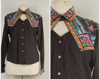 Vintage Black Western Shirt Circle T by Marilyn Lenox USA Ladies Southwestern Print Button Up Long Sleeve Cowgirl Shirt with Keyhole Collar