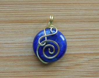 Blue Lapis Lazuli 20mm Coin bead Wire Wrapped in Bare Yellow Brass Wire Wrapped Jewelry Handmade