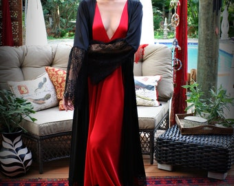 Red Satin Nightgown Valentines Lingerie Black Lace Satin Sleepwear Lipstick Red Gown Sarafina Dreams