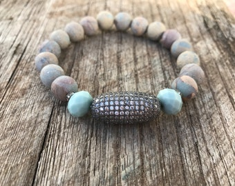 Pave bead, jasper bracelet