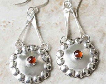 Garnet Earrings in Sterling Silver Artisan Dangle Handcrafted