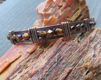 Copper Bangle Bracelet - Bohemian Bracelet - Beaded Bangle - Stacking Bangle Bracelet -