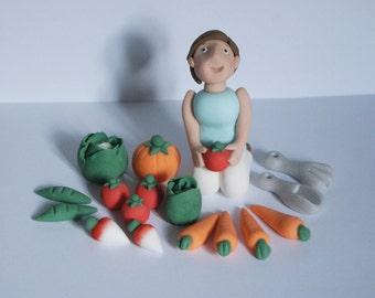 Personalised Handmade Edible Gardening Gardener vegetable Cake Topper/Decoration