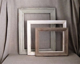 Shabby Cottage Chic Wall Gallery / Simple 3 Piece Frame Collection for Beach House, Cottage Chic or other Shabby Wedding or Home Decor