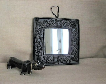 Vintage Chic Accent Mirror / Slightly Shabby Square Mirror / Wall Decor / Vintage Black Framed Mirror